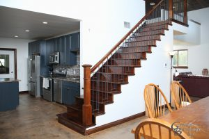 Open Staircase to loft in Machine Shed Man Cave by Greiner Buildings Blue Grass Iowa, Muscatine Iowa, Davenport, Iowa; Letts, Iowa