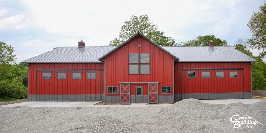 Red and Charcoal Machine Shed built by Greiner Buildings